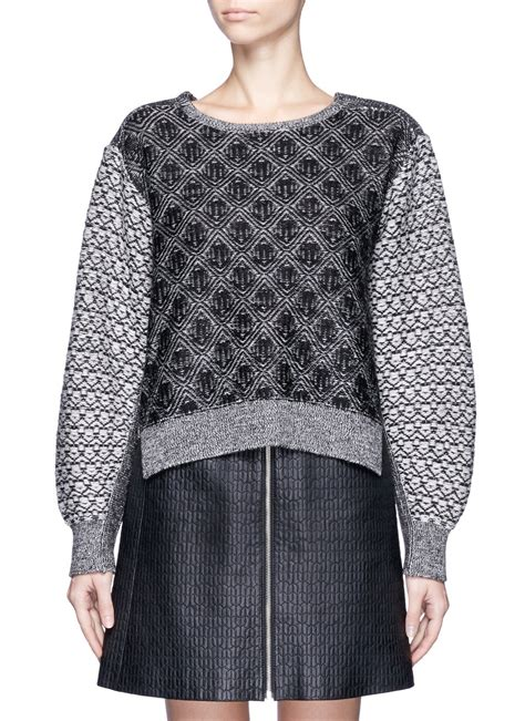 Toga Pulla Jacquard Knit Wool Sweater In Gray Lyst