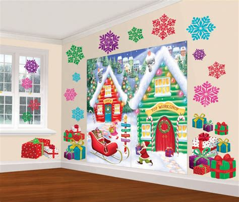 christmas north pole santas workshop scene party wall