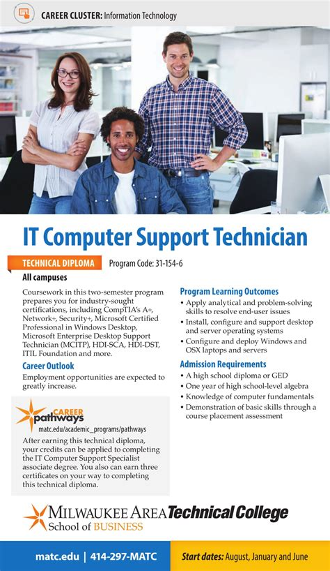 Matc Help Desk by 2017 2018 Matc It Computer Support Program Cards It
