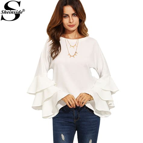 sheinside round neck ruffle long sleeve shirt ladies