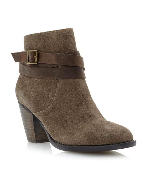 steve madden morrgan buckle ankle boots in gray