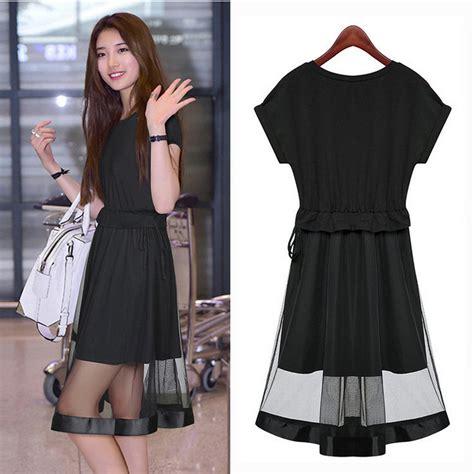 Dress Gaun Pesta Korea Belt Brukat Hitam Putih Import model baju pesta sederhana namun tidak murahan