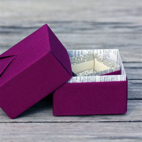 Origami Box Book - personalised book page origami trinket box by identity