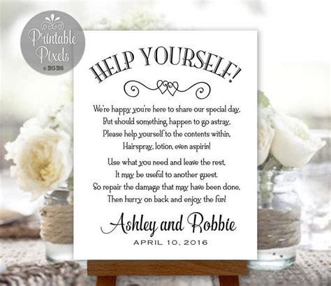 Wedding Bathroom Box by Bathroom Basket Sign Printable Wedding Restroom Toiletries