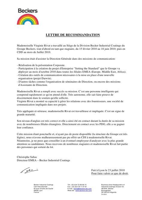 Lettre De Recommandation Employeur Pour Master Lettre De Recommandation Becker Industrial Coatings