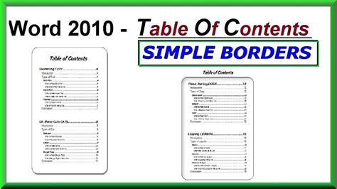 table of contents word 2013 template word 2016 2013 2010 using simple borders for a table
