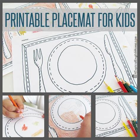 printable placemat printable placemat for kids to color in instant