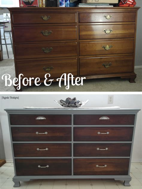 grey stained wood dresser old dresser makeover with gray paint dark walnut stain