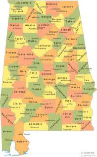 counties map with cities alabama county map