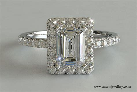 emerald cut solitaire engagement ring halo micro prong