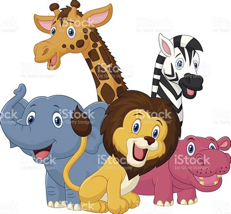 imagenes de animales de safari feliz de dibujos animados de animales de safari