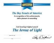 arrow of light certificate template 1000 images about cub scouts on arrow of