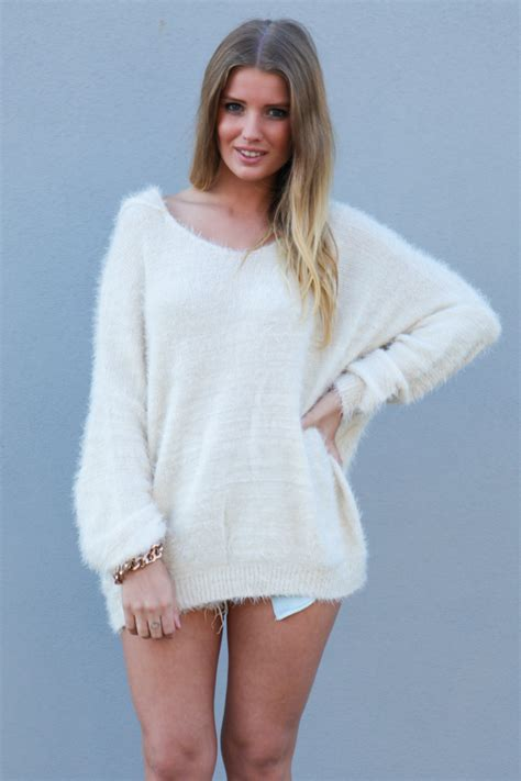 White Sweater white sweater hooded oversized knit sweater