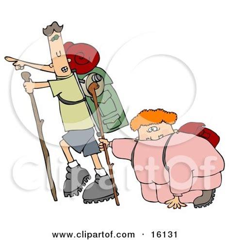 cartoon of a geocaching orange man hiker using a gps
