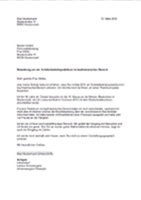 Ferien Bewerbung Muster 9 Bewerbung F 252 R Sch 252 Lerpraktikum Vorlage Resignation Format