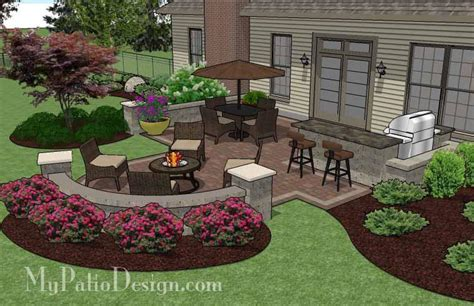 Design My Patio Creative Backyard Patio Design With Seating Wall 525 Sq Ft Mypatiodesign