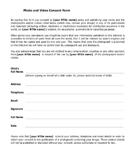 photo release consent form template permission form template sle consent form consent form
