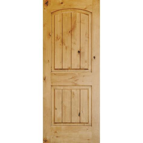 Pre Hung Solid Wood Interior Doors Krosswood Doors 32 In X 96 In Knotty Alder 2 Panel Top Rail Arch V Groove Solid Wood Right