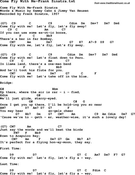 sinatra lyrics jazz song come fly with me frank sinatra with chords