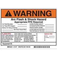 Brady Part 121077 Warning Write On Arc Flash Shock Labels Warning Arc Flash Label Template