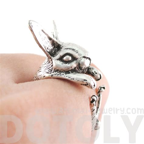 Bunny Ring detailed bunny rabbit shaped animal wrap around ring in