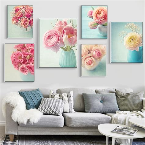european painting floral modern home wall decor painting modern frameless pink europe flower canvas picture art