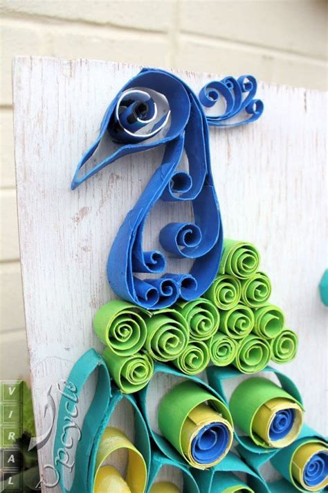 hometalk paper towel roll art into bohemian rustic peacock
