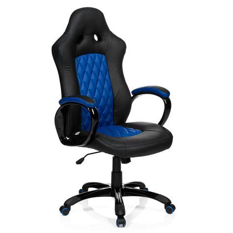 sillon de oficina racer ejecutiva en piel negro  azul