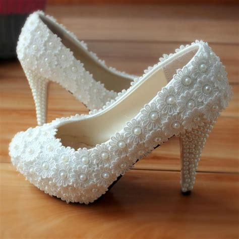 white wedding dress shoes uk pearls lace high heels wedding shoes white flower