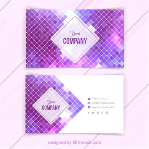 purple business card template free business card with purple squares vector free