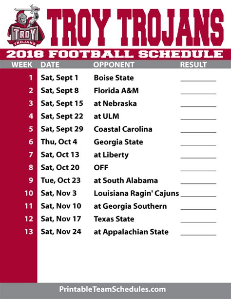 printable schedule college football 2018 printable troy football schedule
