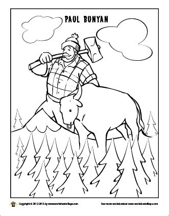 printable version of paul bunyan paul bunyan and his giant blue ox babe kiddo games