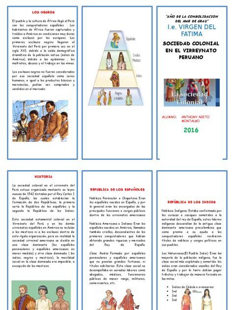 tripticos de la sociedad virreinal apexwallpapers com triptico sociedad colonial en el virreynato docx