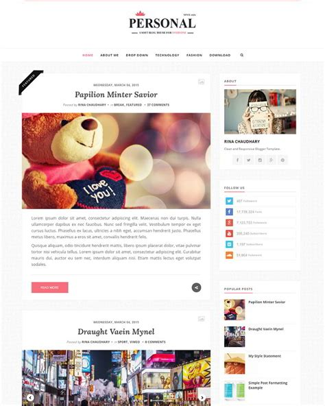 personal clean blogger template 187 abtemplates com