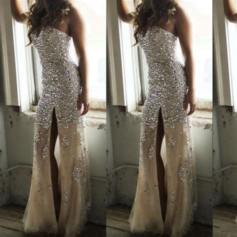 Sweetheart Neck Champagne with Crystals Sparkly Slit