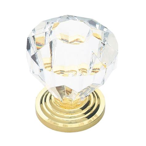 Clear Acrylic Knobs by Liberty 1 1 4 In Brass With Clear Faceted Acrylic Cabinet