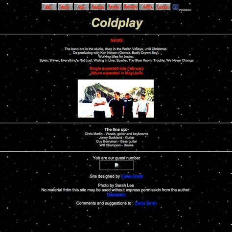 coldplay website first website the coldplay timeline