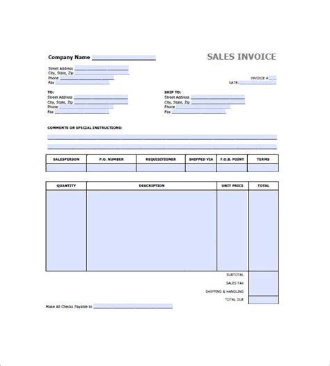 retail invoice template 8 free sle exle format
