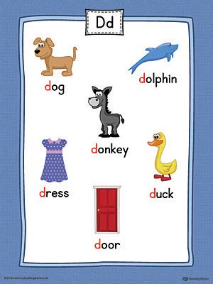 color that starts with letter d letter d word list with illustrations printable poster