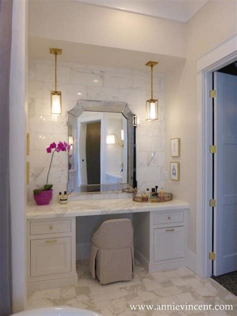 Built In Vanity Dressing Table by Built In Make Up Vanity Transitional Bathroom B Murray Architect
