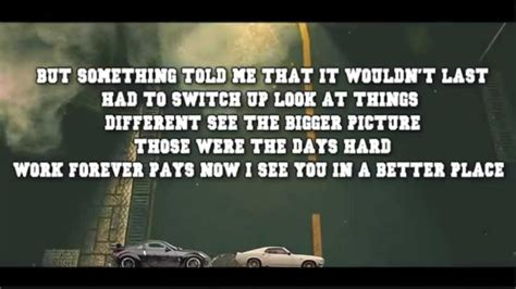 Wiz Khalifa Lyric Paul Walker furious 7 wiz khalifa see you again lyrics paul