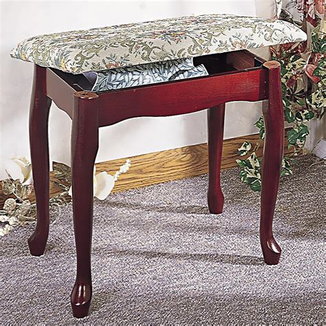 Vanity Bench With Storage Foot Stools Cherry Finish Upholstered Vanity Stool Bench With Lift Top Storage Shoe Racks