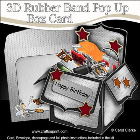 rubber st card templates 3d diy handyman toolbox rubber band pop up box card on