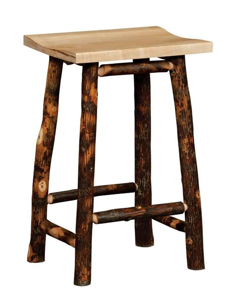rustic hickory bar stools amish rustic hickory twig backless bar stool