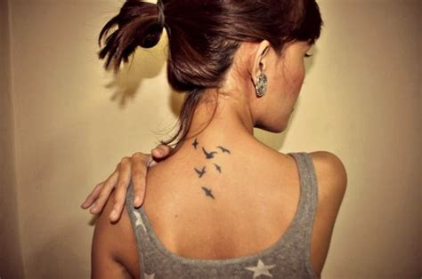 tattoos on back of neck tiny birds on back of neck tattooshunt