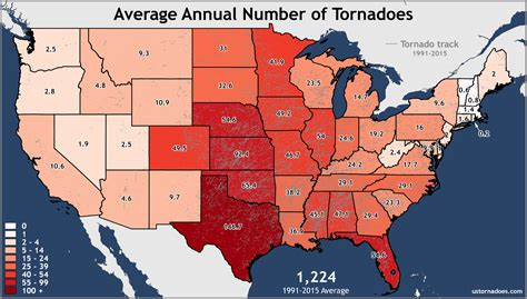 tornado usa map annual and monthly tornado averages for each state maps