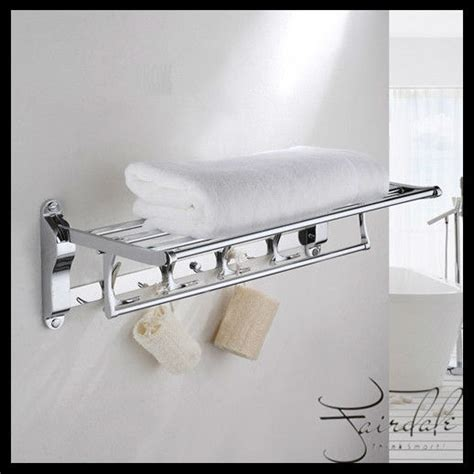 Bathroom Shelves With Hooks Bathroom Accessories New Arrival Multifunction Foldable Bath Towel Shelves With 8 Hooks Wall