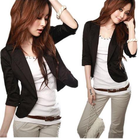 Jaket Grayscale Korean Blazer 1 s korean high cotton jacket casual blazer business thin tops black and white