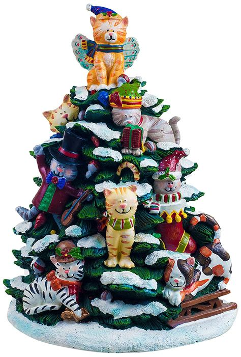 color changing lighted cat tree figurine clever and festive cat decorations