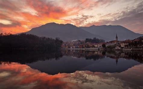 hd city  shadow  mountain lake sunset wallpaper